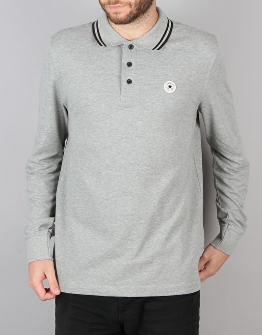 Converse Core L/S Polo Shirt - Vintage Grey Heather