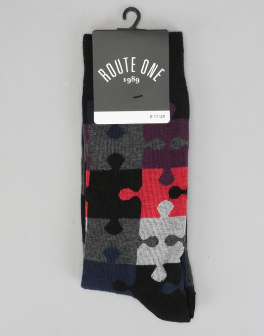 Route One Puzzle Socks - Black/Grey/Red