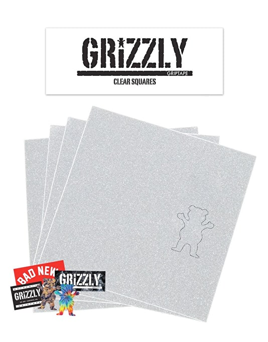 "Grizzly Clear Squares 9"" Grip Tape Sheet"