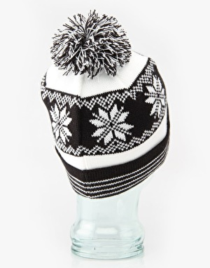 Route One Snow Pom Beanie - Black/White