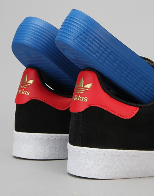 Adidas Superstar Vulc ADV Skate Shoes - Core Black/Gold Met./Red