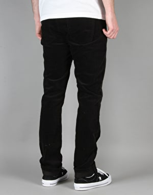 Route One Slim Fit Cords - Black