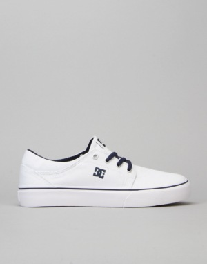DC Trase TX Boys Skate Shoe - White/Navy