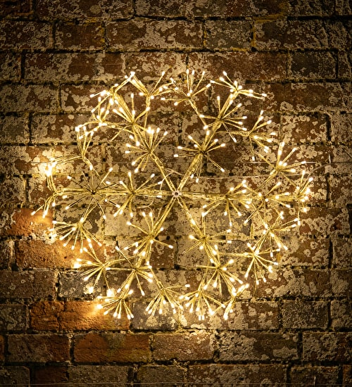 Giant Golden Snowflake with Lights