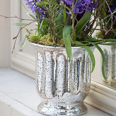 Antiqued Silver Effect Planter