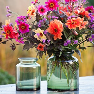 Green Glass Jar Vase
