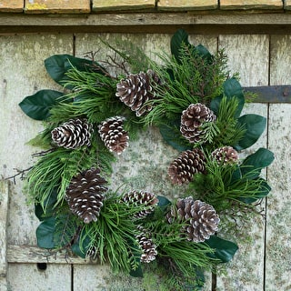 North Ridge Pine and Magnolia Leaf Wreath