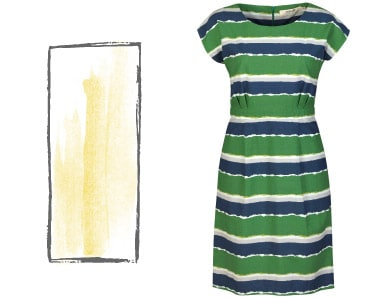 Rectangle dresses - striped short sleeve, shift dress