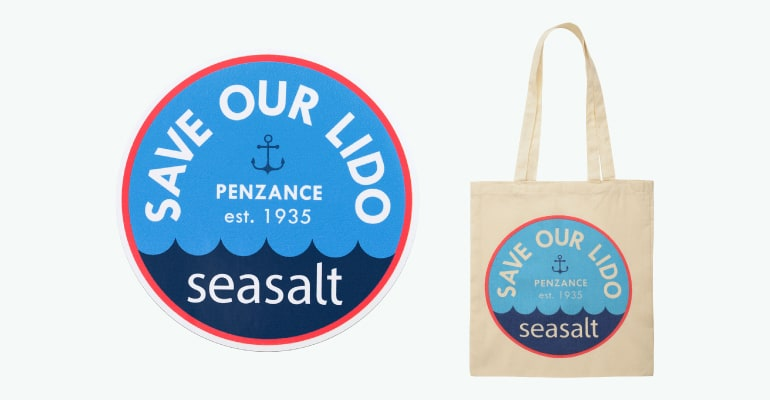Seasalt 'Save our Lido' car stickers and canvas bags