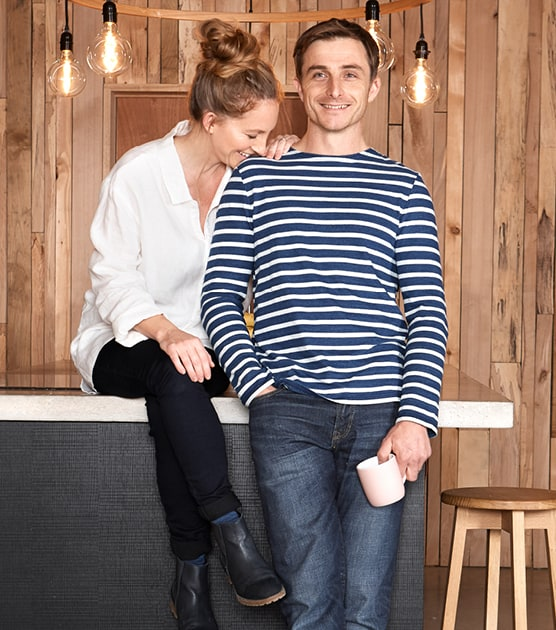 Tom and Danielle wearing the new Unisex Collection