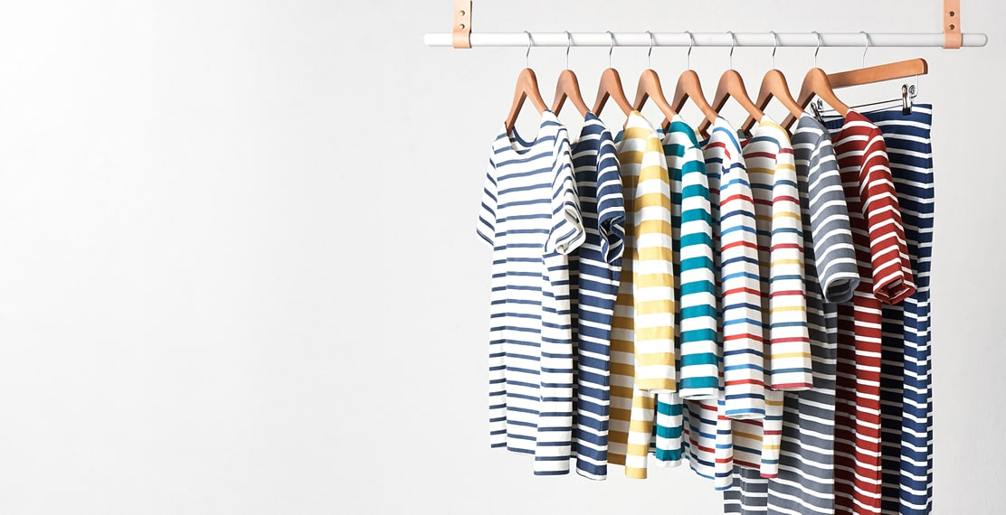 Breton striped sailor shirts on a clothes rack