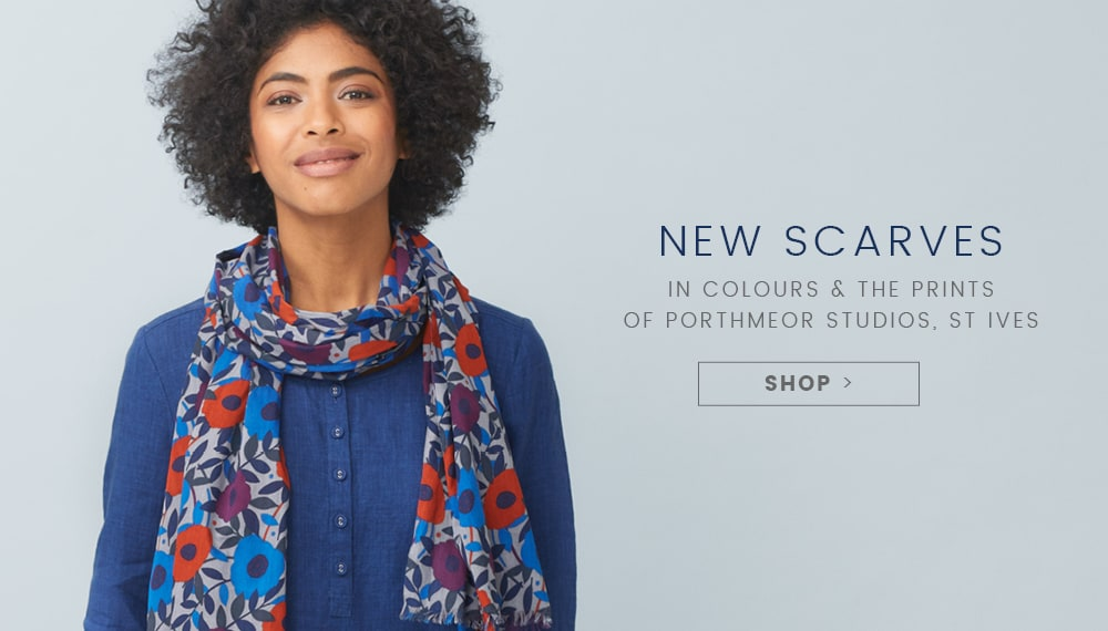 New Scarves - Woman wearing colourful scarf