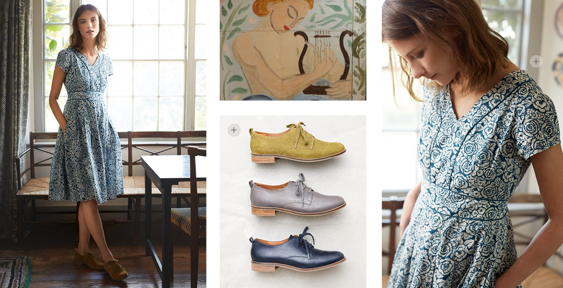 4 images. 1. A lady posing in front of the window wearing a long summer dress with a blue flower pattern. 2. A flat image of our colourful new brogue shoes. 3. Close up image of a painting of a lady playing the harp. 4. Close up of the lady wearing the dress.
