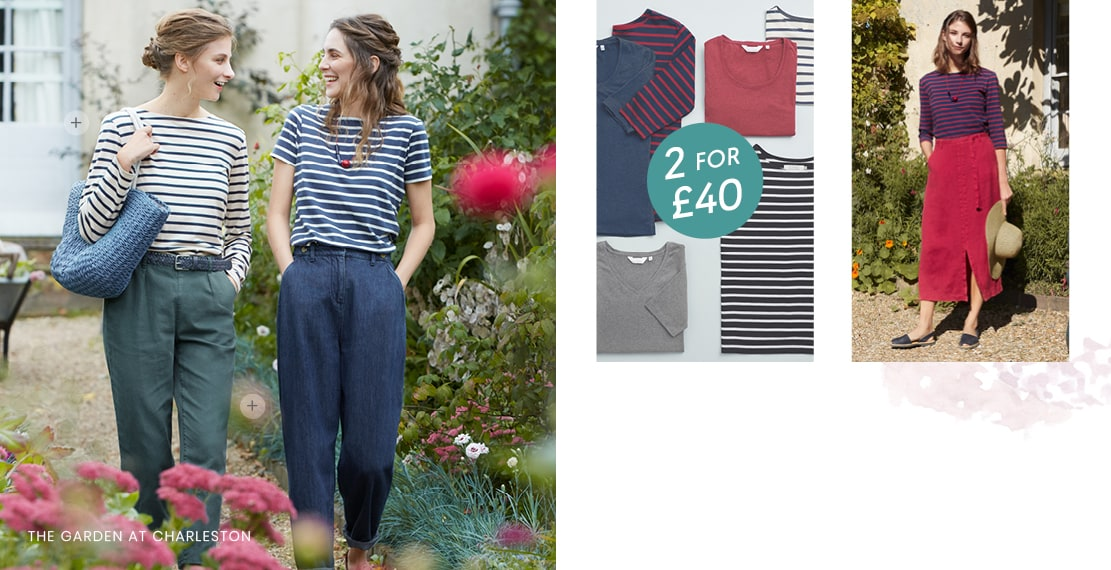 2 girls wearing classic striped tops & casual trousers in the garden