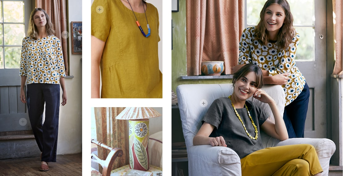 2 Ladies, posing in the living room wearing flowery yellow top & plain trousers.