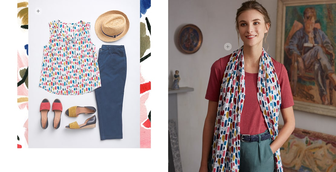 A summer outfit laid out on the floor. Colour swatch vest, straw hat, navy trousers & colourful espadrilles. 2nd image, a women wearing a colour swatch scarf, red top & green trousers inside the house.