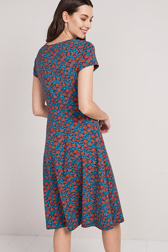 Riviera Dress, Organic Cotton Jersey Midi Skirt Dress - Seasalt