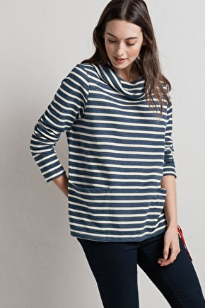 Womens Cotton Nautical Striped Low Seas Sweatshirt - Seasalt