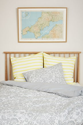 Luxury 100% Cotton Chambray Printed Duvet Bed Cover - Seasalt