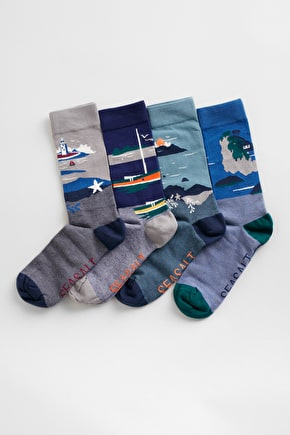 Men's Postcard Socks Box O'4 - Soft Organic Cotton - Seasalt Cornwall
