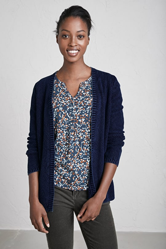 Luma Cardigan, Cotton Edge to Edge Cardi - Seasalt