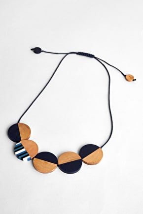 Mixed Media Necklace, Matt Resin & Haldu Wood Necklace