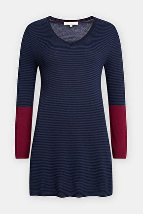 Soft Wool Tunic Top. V-Neck & Colour Block Sleeves - Seasalt