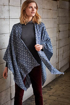 Pure Woven Wool Shawl Cape. In Unique Seasalt Prints