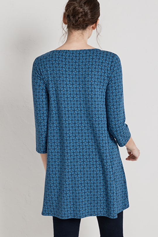 Arusha Tunic. Soft Bamboo A-line Jersey Top - Seasalt