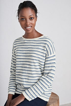 Birdsong Jumper, Cotton Linen Striped Knit - Seasalt Cornwall
