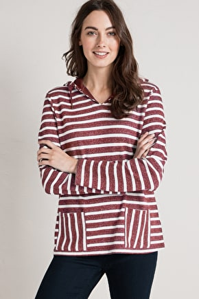Joly Hoodie, Striped Cotton Hoody - Seasalt