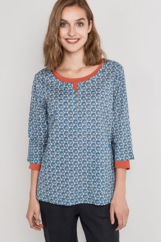 Picture Hook 3/4 Length Sleeved Top - Seasalt