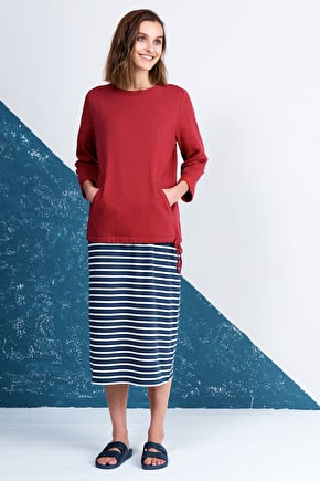 Sailor Skirt, Midi Length Breton Striped Skirt - Seasalt