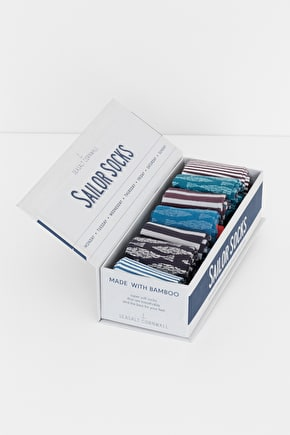 Men's Striped Bamboo Box O' Socks - Seasalt