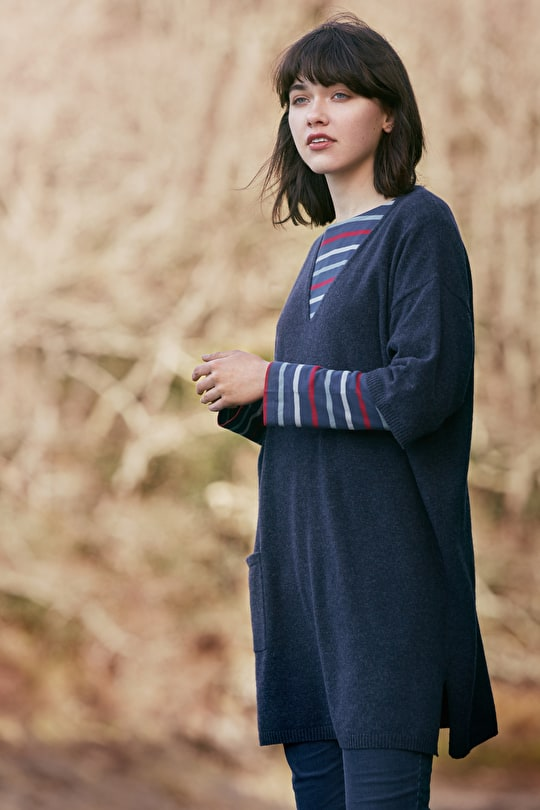 Wool Tunic Top. Oversized, Poncho Style - Seasalt