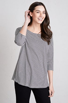 Merryn Top, Striped Cotton Jersey Shirt - Seasalt Cornwall