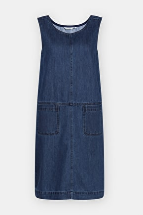 Book Seller Pinafore, Denim Twill A-Line Knee Length Dress
