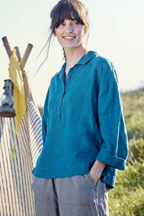 Paint Layers Top, Relaxed Linen Summer Smock - Seasalt