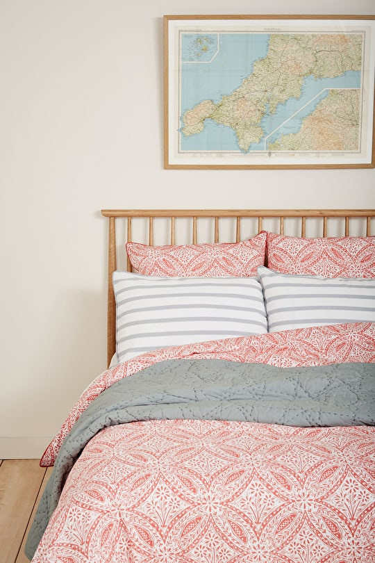 Luxury Cotton Printed and plain Duvet Bed Cover - Seasalt