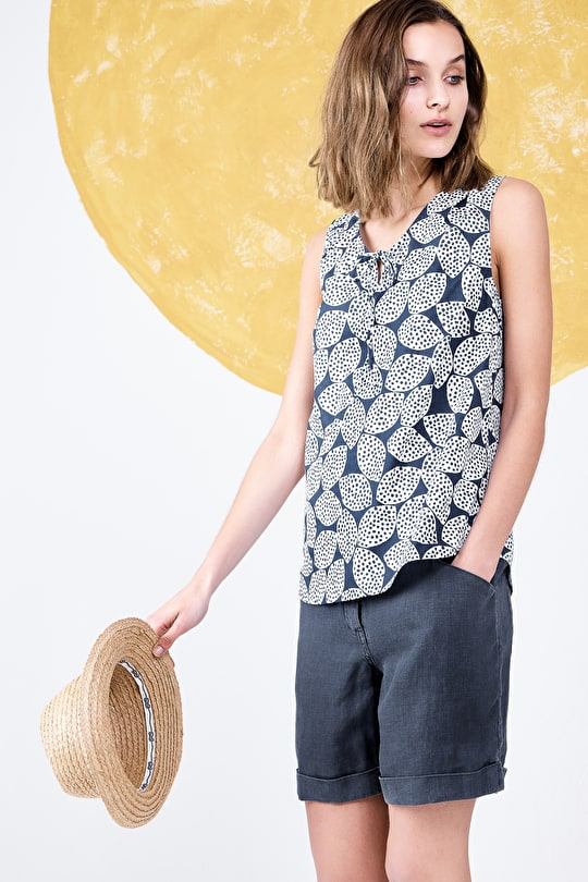Printed Cotton V-neck Sleeveless Cobbs Well Blouse Top - Seasalt
