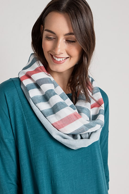 Cotton Striped Circle Misty Moore Scarf - Seasalt