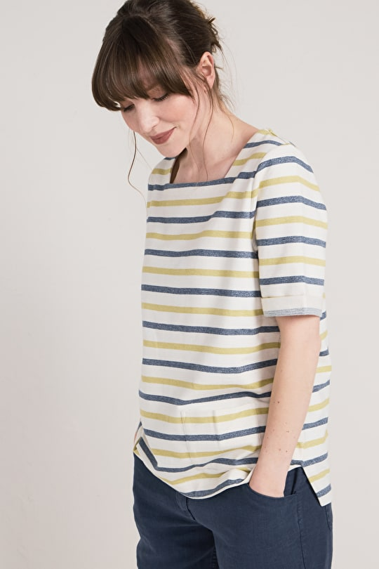 Women's Organic Cotton Striped Dinnabroad Sweatshirt - Seasalt