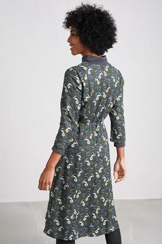 Pretty Twill Dress with Sleeves, In Unique Seasalt Print