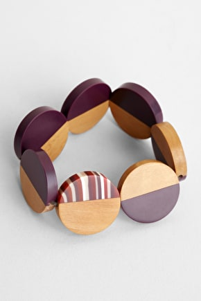 Silent Film Bracelet, Haldu Wood & Matt Resin Elasticated Bracelet