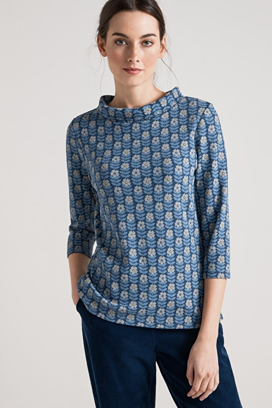 Sunstream Top - Roll Neck Semi Fitted Ladies Jersey Top - Seasalt