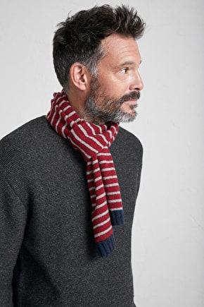 Men's Nancarrow Scarf, Striped Merino Wool Scarf - Seasalt