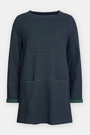 Gentle Wave Tunic - Long Sleeved Cotton Jacquard Seasalt Top