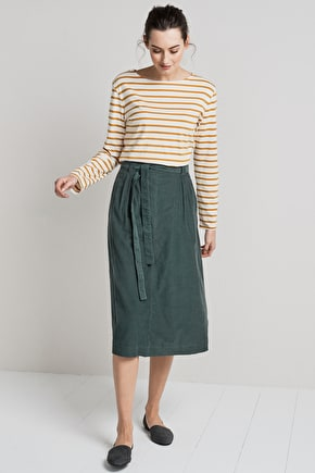 Flattering Cord Midi Skirt. A-Line With Box Pleats - Seasalt