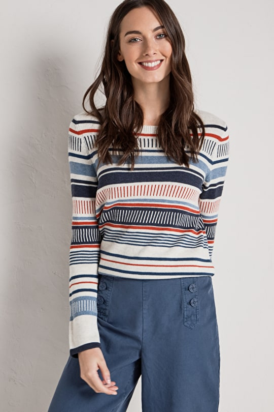 Colourful Stripey Womens Sweatshirt, Bosvigo Jumper - Seasalt