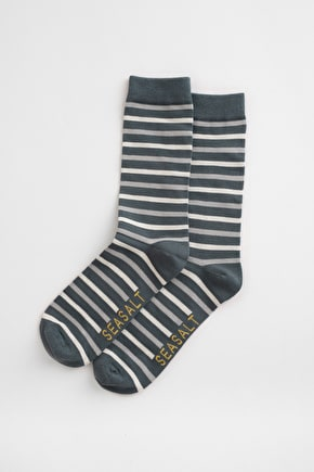 Men's Striped Bamboo Sailor Ankle Socks - Seasalt